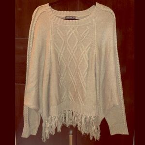F21+ Taupe Cable Sweater with Fringe Size XL/1X
